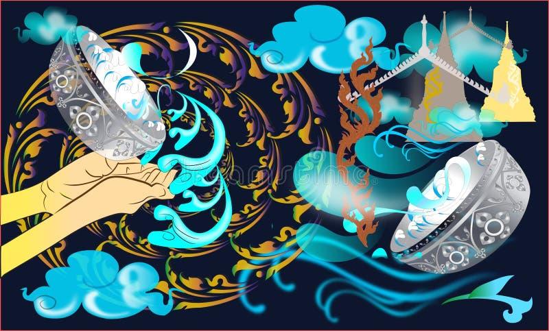 Linie thailändisches Muster songkran Festival lizenzfreie abbildung