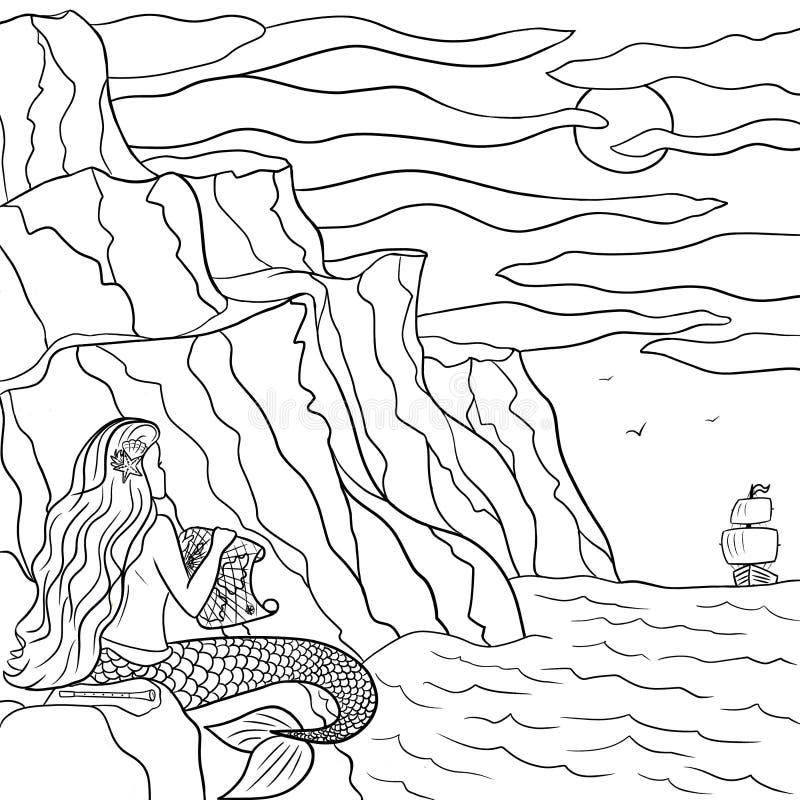 Linie träumerische Meerjungfrau der Kunsthandgezogenen Skizze auf dem Stein und Segelboot im Meer Färbungsentwurfsillustration lizenzfreie abbildung