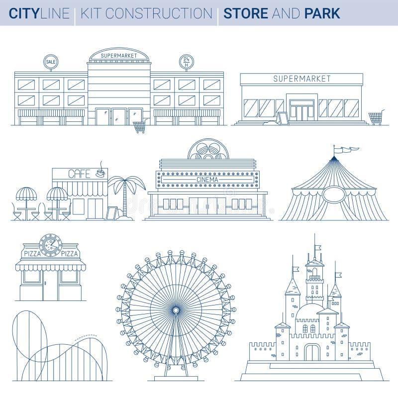 Linie Vektorillustrationssatz Stadtservice und Unterhaltung bui stock abbildung