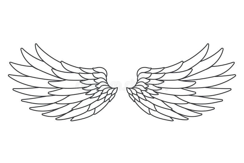 Linie Vogelengels-Fliegenflügel der Kunst weiße entwerfen lokalisierte Vektorillustration stock abbildung