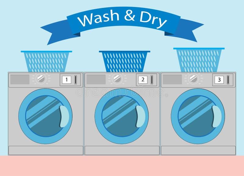 Linie von industriellen Wäschereimaschinen in der flachen Art, Waschautomat wa lizenzfreie abbildung
