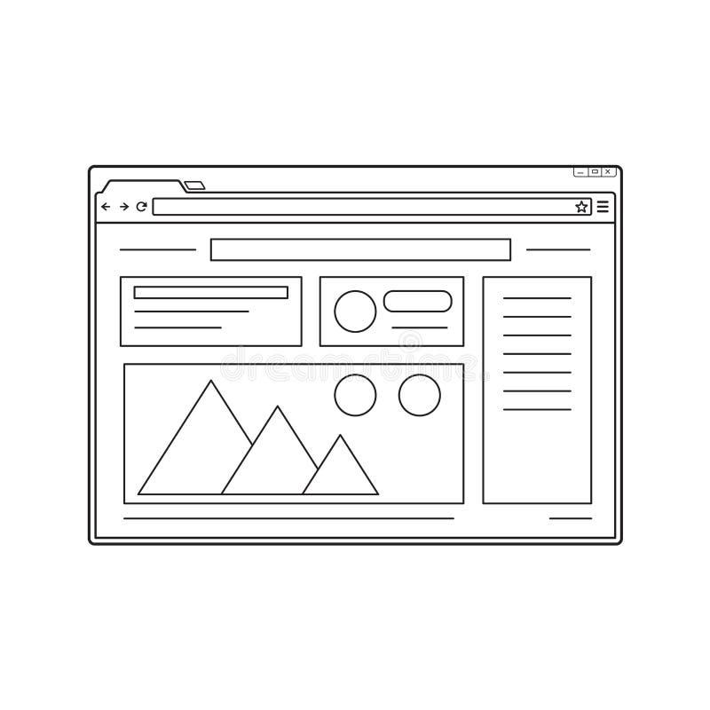 Linie web- browserfenstermodell Websiteseitenschablone lizenzfreie abbildung