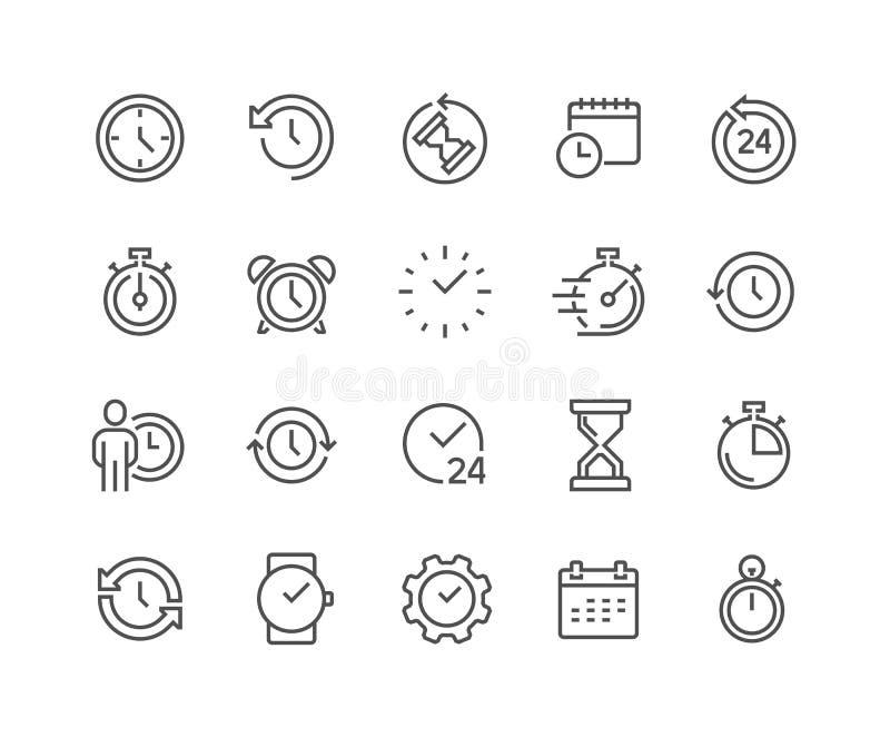 Linie Zeit-Ikonen lizenzfreie abbildung