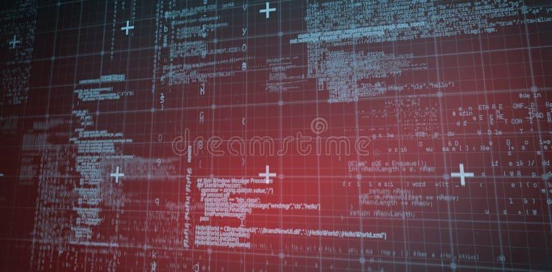 Linien der blauen Matrix und der Codes lizenzfreie abbildung