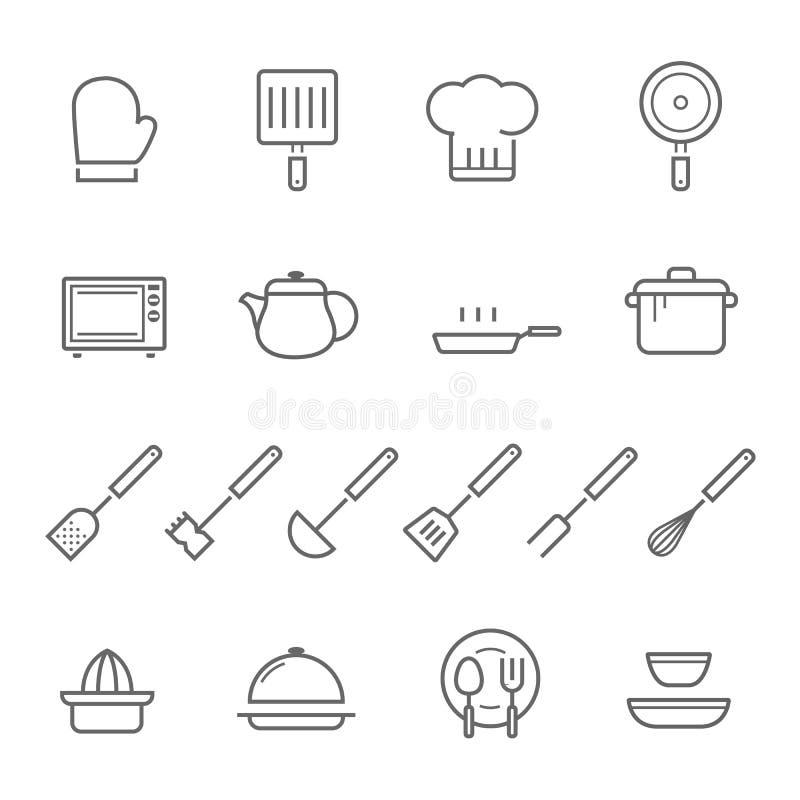Linien Ikone eingestellt - Küchengeschirr vektor abbildung