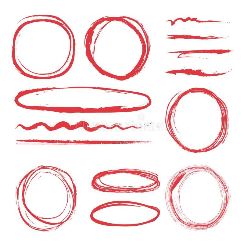 Linien und Kreise zum hervorzuheben Vektorillustrationen eingestellt stock abbildung
