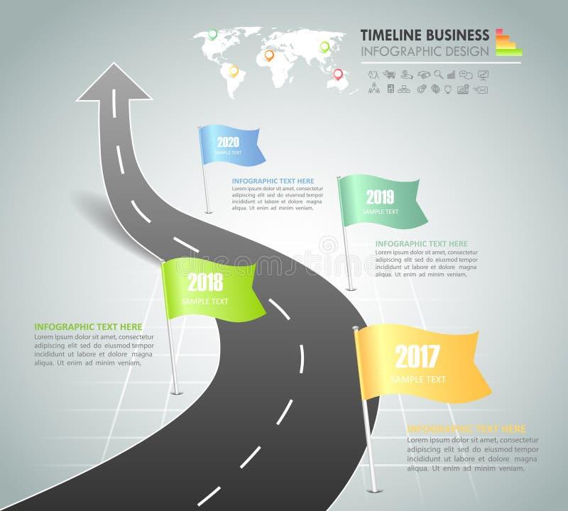Linii czasu biznesowego pojęcia szablonu 4 infographic kroki, ilustracji