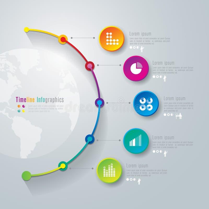 Linii czasu infographics projekta szablon. ilustracja wektor