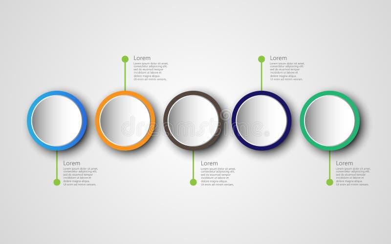 Linii czasu infographics projekta szablon z 5 opcjami, proces di royalty ilustracja