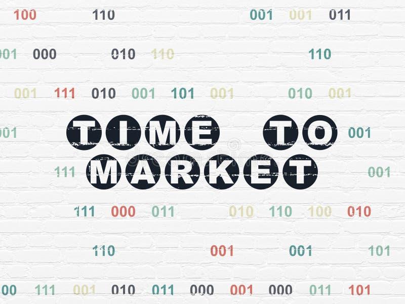 Linii czasu pojęcie: Czas rynek na ściennym tle ilustracji