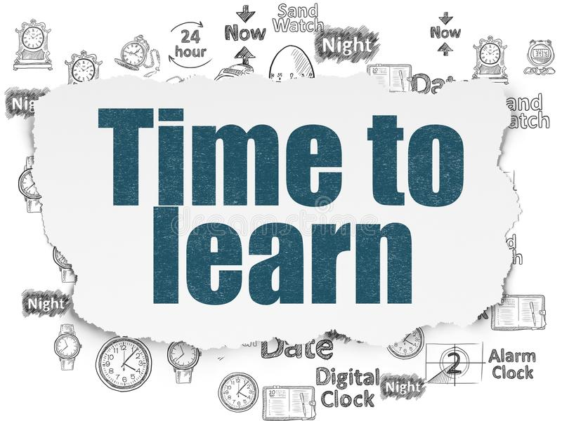 Linii czasu pojęcie: Czas Uczyć się na Poszarpanym Papierowym tle royalty ilustracja