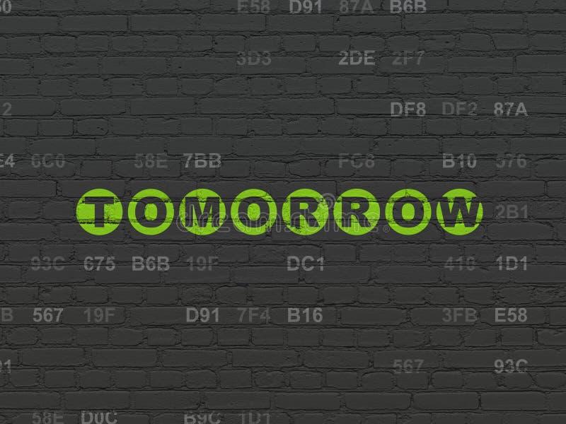 Linii czasu pojęcie: Jutro na ściennym tle ilustracja wektor