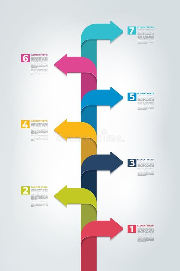 Linii czasu vertical raport, szablon, mapa, plan, krok po kroku infographic ilustracja wektor