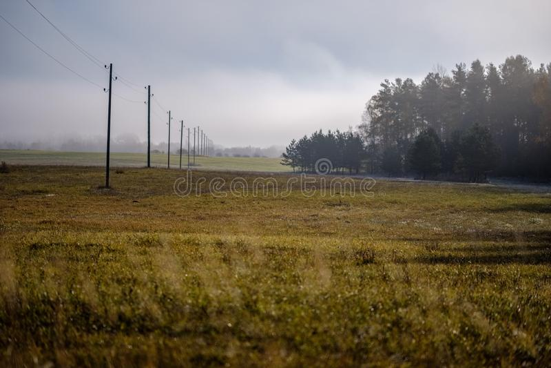 linii energetycznej elektryczności słupy w kraju zdjęcia royalty free