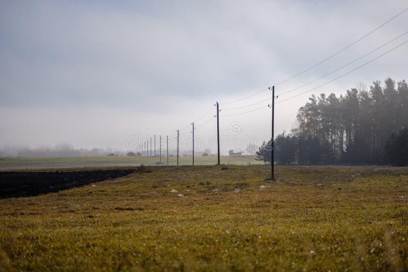 linii energetycznej elektryczności słupy w kraju zdjęcie stock