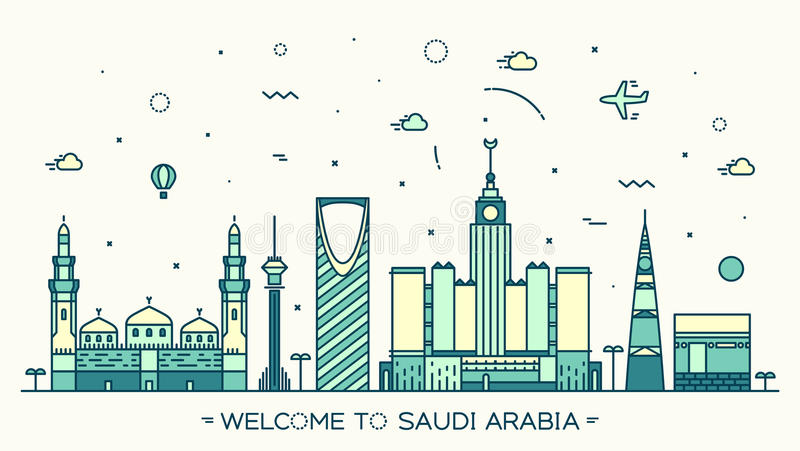 Linii horyzontu Arabia Saudyjska Modny wektorowy liniowy styl ilustracja wektor