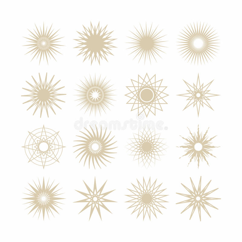 Linii i sylwetki beżu gwiazd geometrical poli- gramowe ikony ustawiać ilustracji