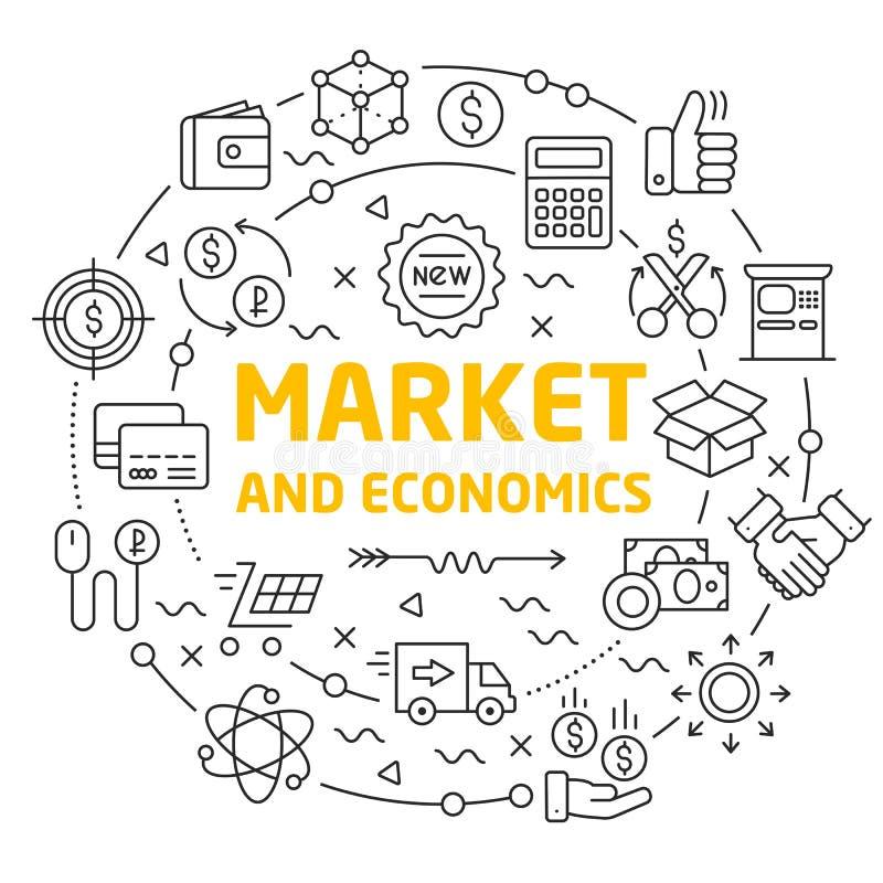 Linii ikon okręgu ilustracyjny rynek i ekonomie royalty ilustracja