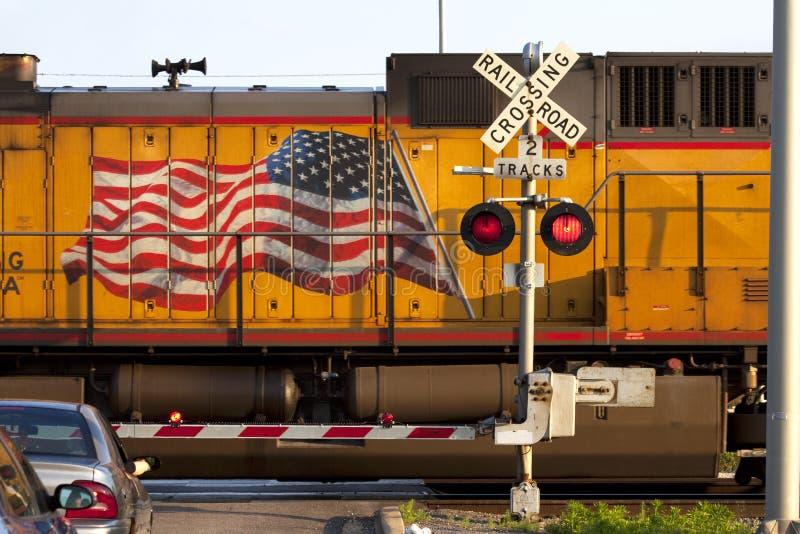 linii kolejowej amerykański skrzyżowanie zdjęcie royalty free