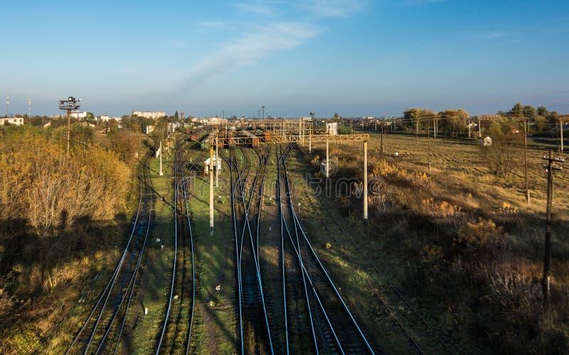Linii kolejowej frekwenci punkt w Kovel, Ukraina Kolejowy transport fotografia royalty free