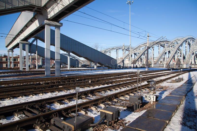 Linii kolejowej i amerykanina mosty fotografia royalty free