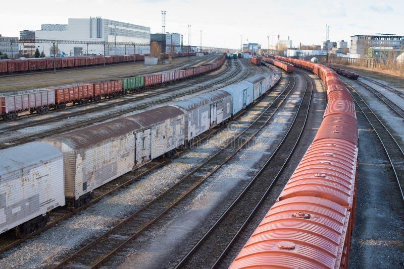 Linii kolejowej Przewieziony centrum - Tallinn, Estonia obrazy royalty free