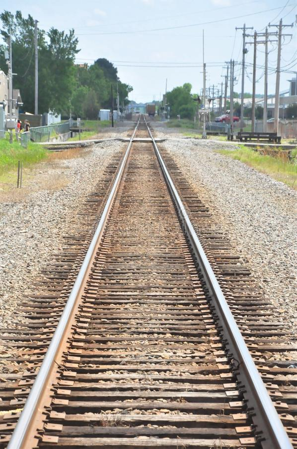 Linii kolejowej skrzyżowanie fotografia royalty free