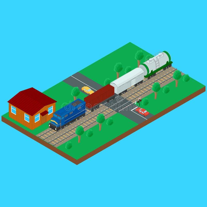 Linii kolejowej skrzyżowanie, pociąg towarowy niesie cysternowego zbiornika furgon royalty ilustracja