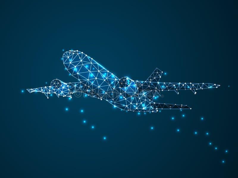 Linii lotniczej 3D niska poli- abstrakcjonistyczna ilustracja Wektorowy cyfry wireframe poj?cie poj?cia prowadzenia domu posiadan ilustracja wektor