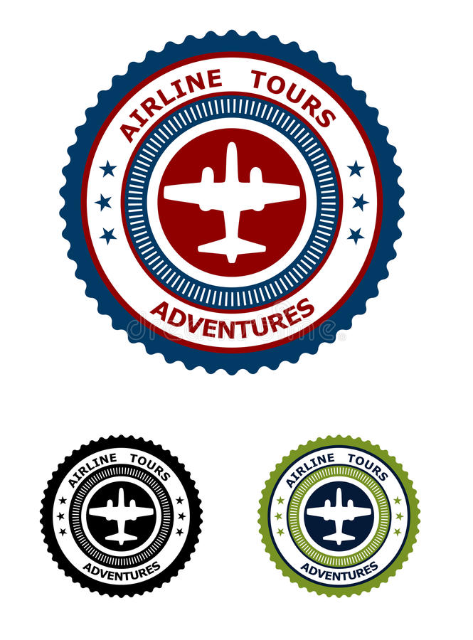 Linii lotniczej wycieczki turysycznej przygod symbol ilustracja wektor