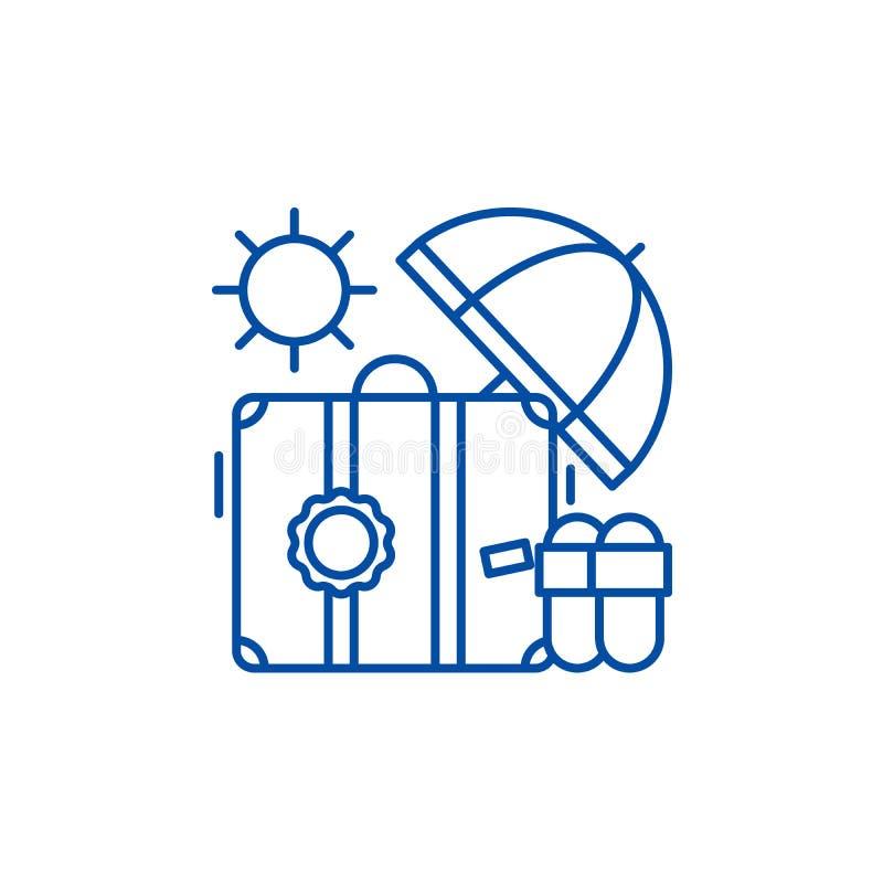 Linii promowej ikony pojęcie Pływa statkiem płaskiego wektorowego symbol, podpisuje, zarysowywa, ilustrację royalty ilustracja