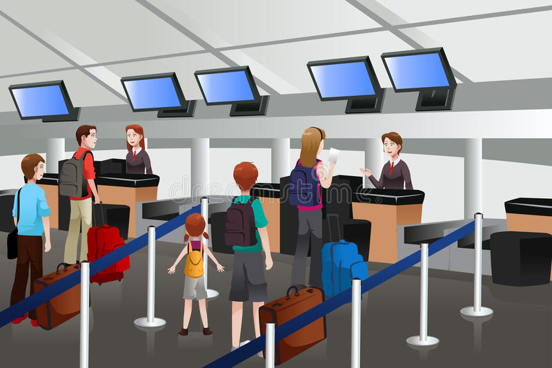 Lining up at the check-in counter in the airport vector illustration