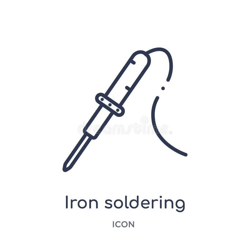 Liniowa żelazna lutownicza ikona od budowy i narzędzia zarysowywamy kolekcję Cienkiego linii żelaza lutownicza ikona odizolowywaj ilustracja wektor
