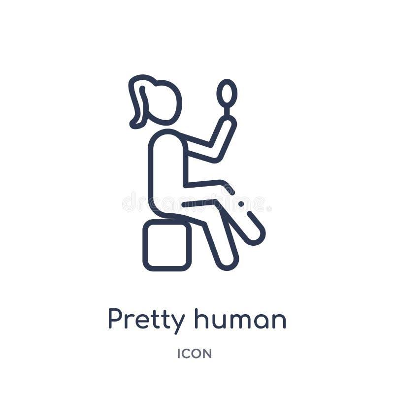 Liniowa ładna ludzka ikona od uczuć zarysowywa kolekcję Cienieje kreskowego ładnego ludzkiego wektor odizolowywającego na białym  royalty ilustracja