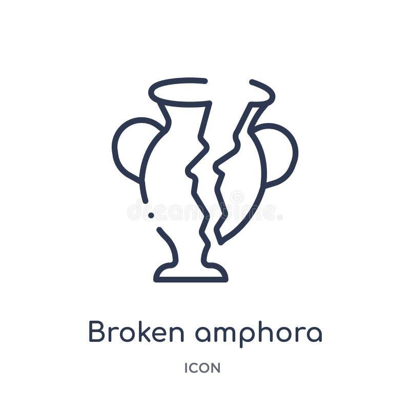 Liniowa łamająca amfory ikona od Grecja konturu kolekcji Cienieje linia łamającą amfory ikonę odizolowywającą na białym tle łamaj ilustracji