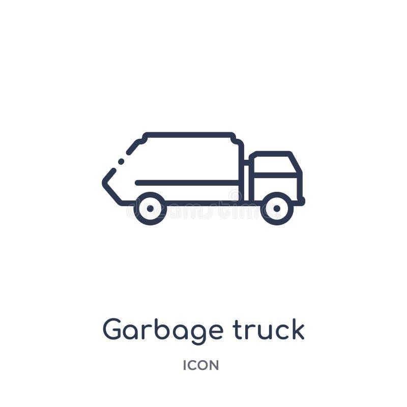 Liniowa śmieciarskiej ciężarówki ikona od Czyści kontur kolekcji Cienieje kreskowego śmieciarskiej ciężarówki wektor odizolowywaj ilustracja wektor