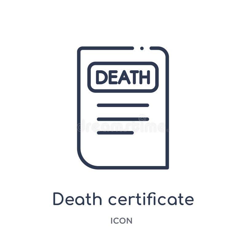 Liniowa śmiertelnego świadectwa ikona od prawa i sprawiedliwość zarysowywamy kolekcję Cienieje kreskową śmiertelnego świadectwa i ilustracji