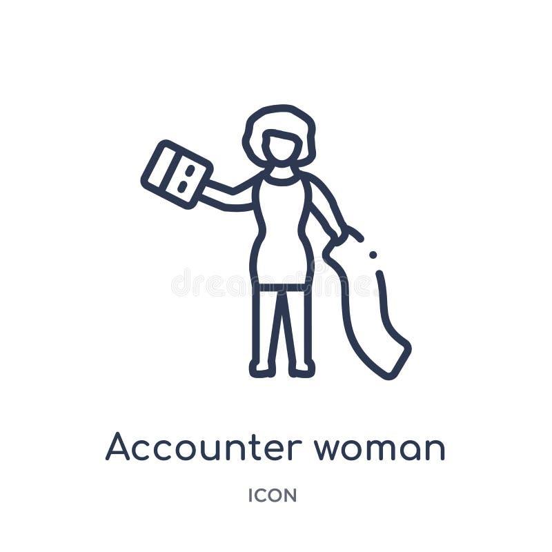 Liniowa accounter kobiety ikona od dam zarysowywa kolekcję Cienieje kreskową accounter kobiety ikonę odizolowywającą na białym tl royalty ilustracja