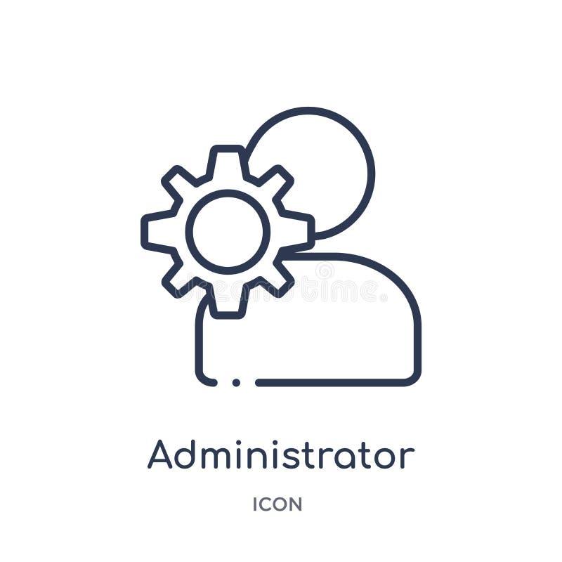 Liniowa administrator ikona od dział zasobów ludzkich konturu kolekcji Cienieje kreskową administrator ikonę odizolowywającą na b ilustracja wektor