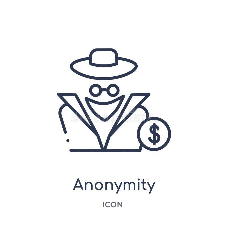Liniowa anonimowości ikona od Cryptocurrency gospodarki i finanse zarysowywamy kolekcję Cienieje kreskowego anonimowość wektor od ilustracji