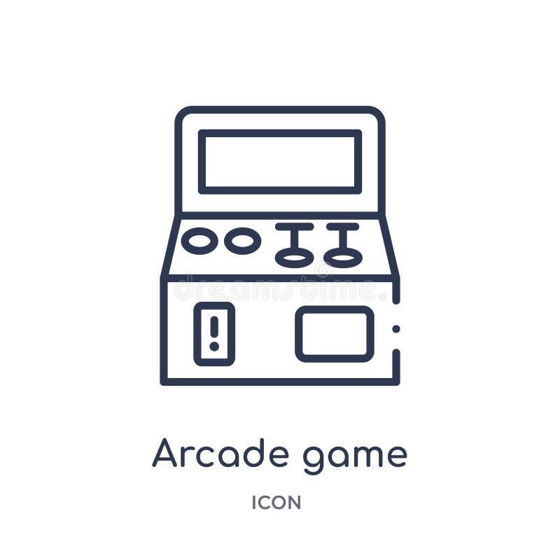 Liniowa arkady gry ikona od rozrywki i arkada zarysowywamy kolekcję Cienieje kreskowego arkady gry wektor odizolowywającego na bi ilustracja wektor