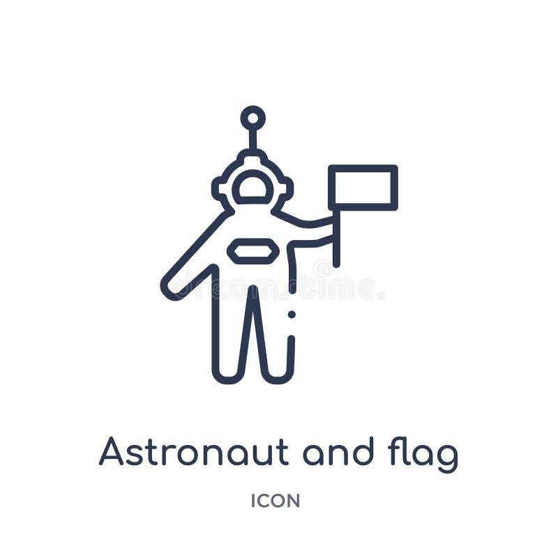 Liniowa astronauty i flagi ikona od astronomii zarysowywa kolekcję Cienieje kreskowego astronauty i zaznacza wektor odizolowywają royalty ilustracja