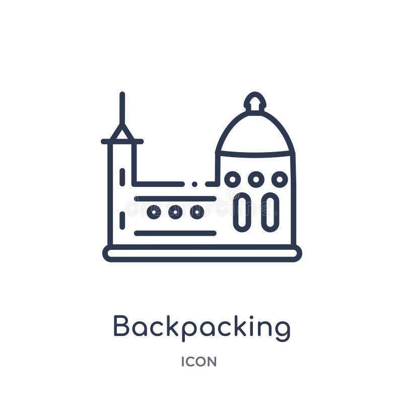 Liniowa backpacking ikona od architektury i podróż zarysowywamy kolekcję Cienieje kreskowego backpacking wektor odizolowywającego ilustracji