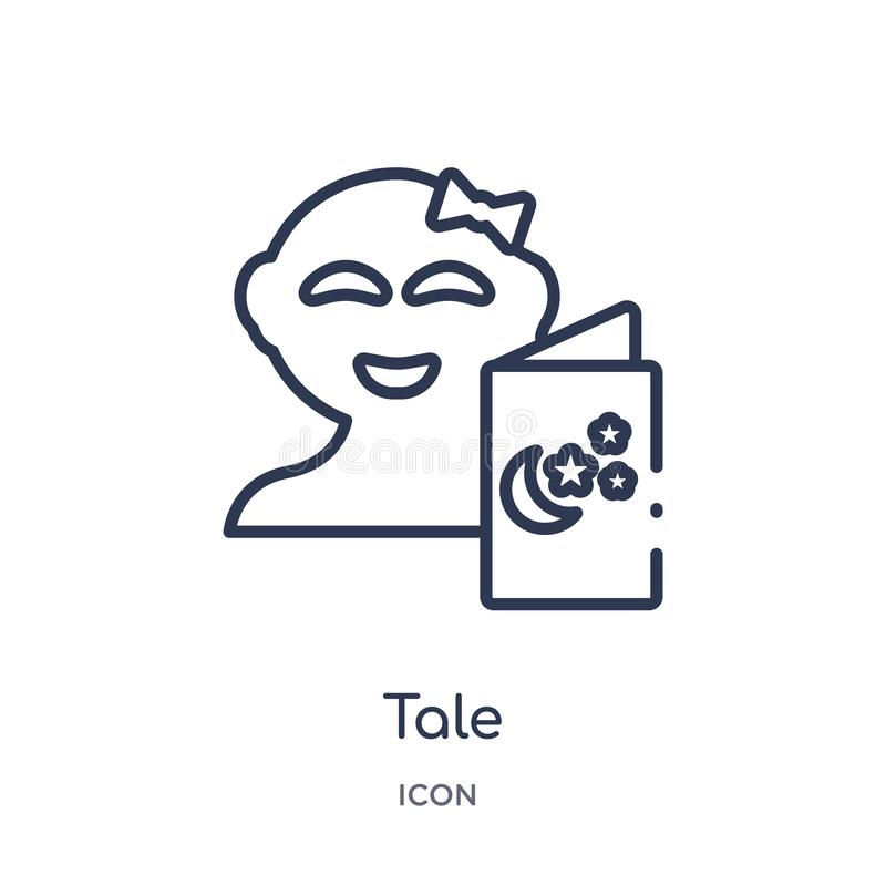 Liniowa bajki ikona od dzieciaka i dziecko zarysowywamy kolekcję Cienieje kreskową bajki ikonę odizolowywającą na białym tle bajk ilustracji