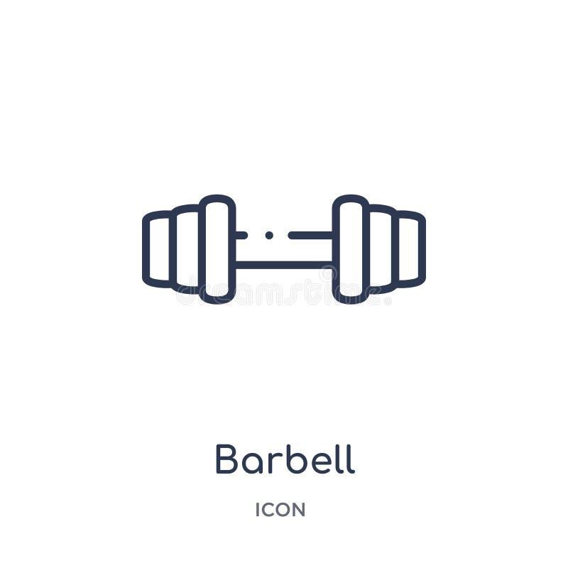 Liniowa barbell ikona od futbolu amerykańskiego konturu kolekcji Cienieje kreskowego barbell wektor odizolowywającego na białym t royalty ilustracja