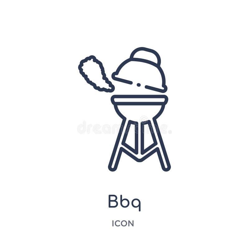 Liniowa bbq ikona od campingu konturu kolekcji Cienieje kreskowego bbq wektor odizolowywającego na białym tle bbq modna ilustracj ilustracji