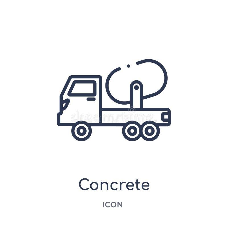 Liniowa betonowa ikona od budowa konturu kolekcji Cienki linia betonu wektor odizolowywający na białym tle betonowy modny royalty ilustracja