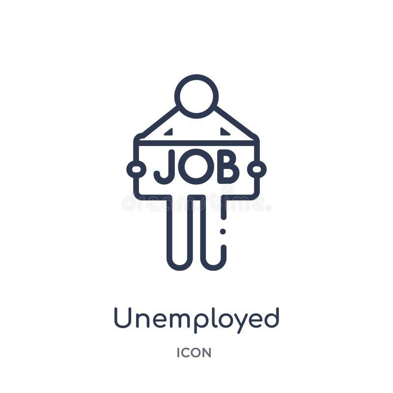 Liniowa bezrobotna ikona od Asekuracyjnej kontur kolekcji Cienieje kreskową bezrobotną ikonę odizolowywającą na białym tle bezrob royalty ilustracja