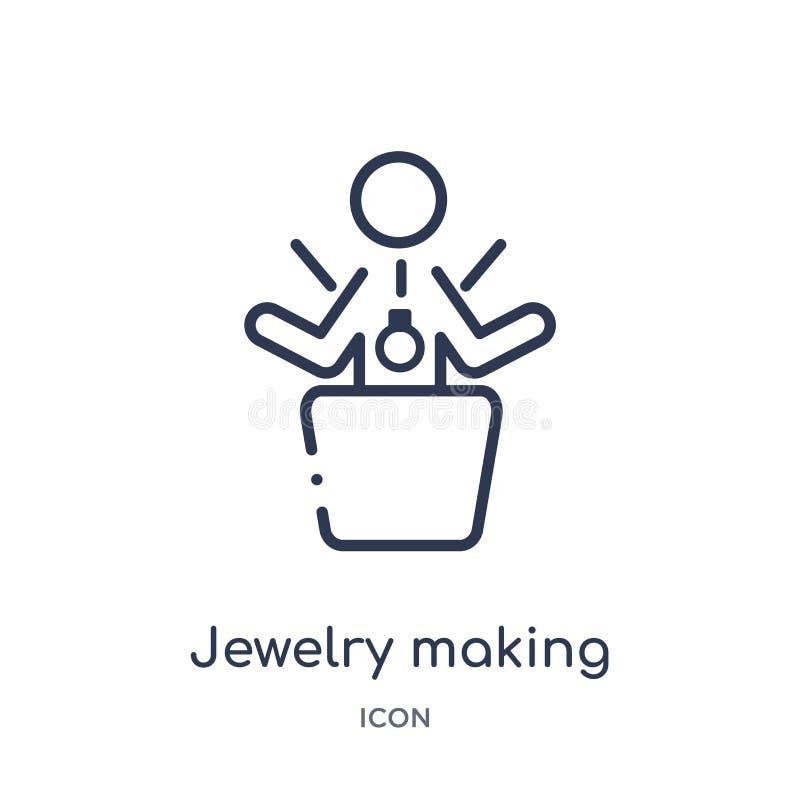 Liniowa biżuteria robi ikonie od aktywności i hobby zarysowywamy kolekcję Cienieje kreskową biżuterię robi wektorowi odizolowywaj ilustracji