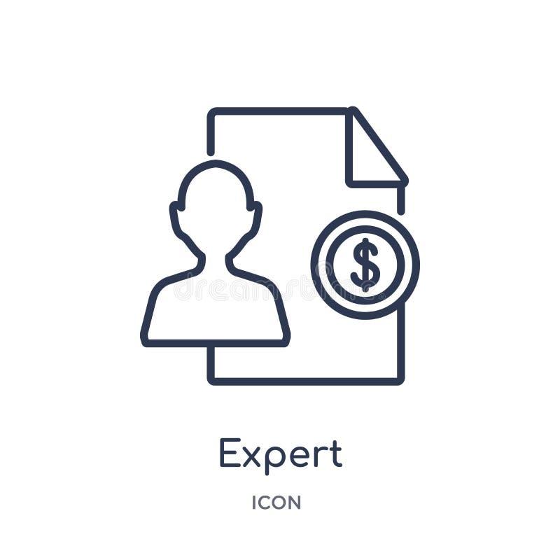 Liniowa biegła ikona od Biznesowej kontur kolekcji Cienieje kreskową biegłą ikonę odizolowywającą na białym tle ekspert modny royalty ilustracja